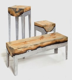 Set-of-3-Furniture-Pieces-in-Wood-Aluminium-Casting-Series-by-Hilla-Sharmia