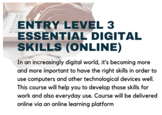 Essential Digital Skills course published on the ACL learner brochure (ACL Islington 2021)