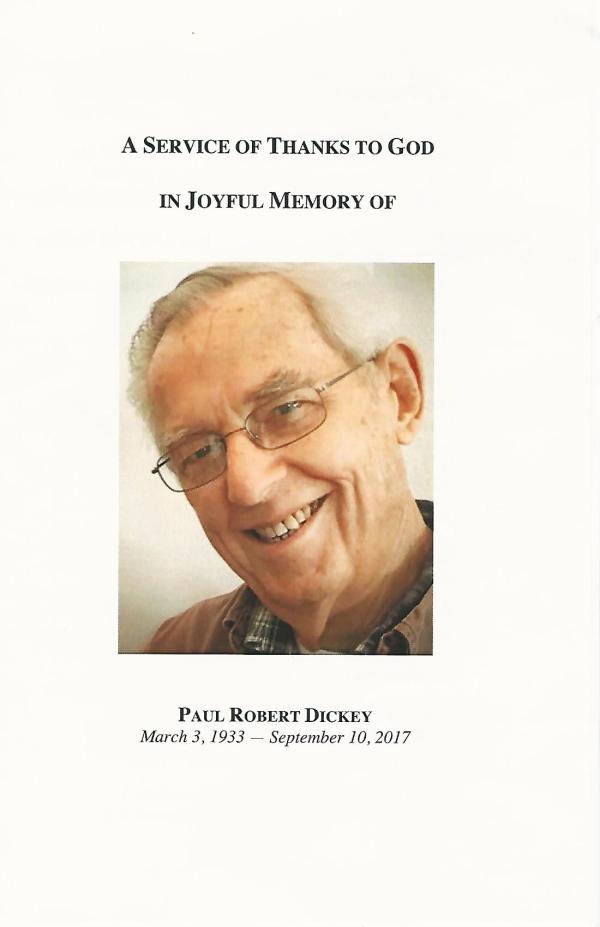 Paul Dickey Memorial Service pamphlet cover.