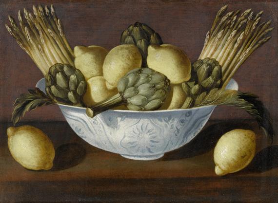 Bowl of lemons and artichokes
