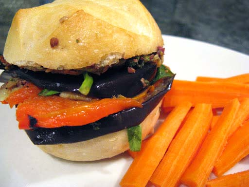Image of grilled eggplant sandwich