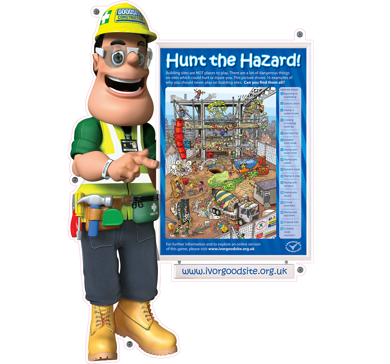 Ivor Goodsite Hunt The Hazard Site Sign And A1 Poster