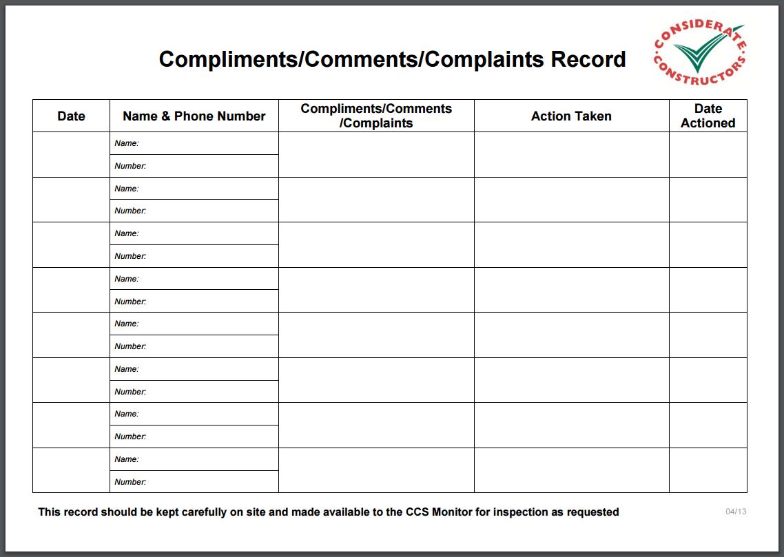 Compliments Comments Complaints Record Best Practice Hub