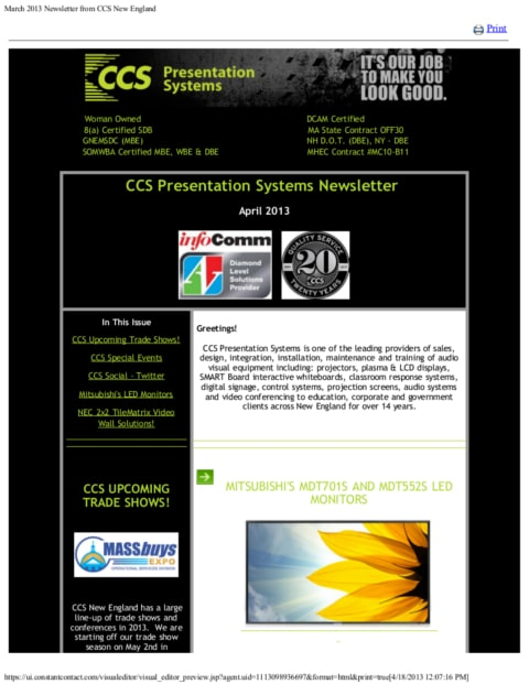 April 2013 Newsletter from CCS New England