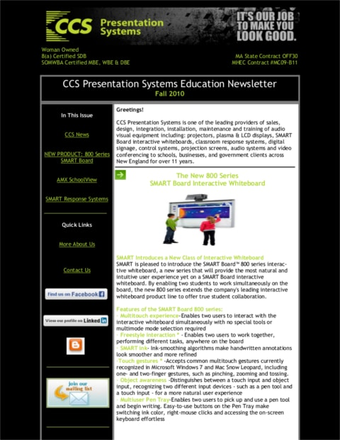 CCS Education Newsletter Fall 2010