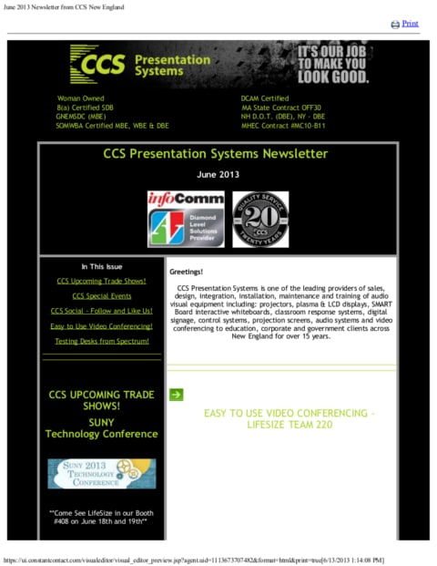 June 2013 Newsletter from CCS New England