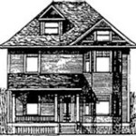 line drawing of old Woodsworth house