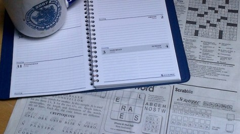 An empty datebook and time for the crossword