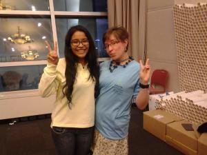 Diana Eguigure and Tif model WCC t-shirts