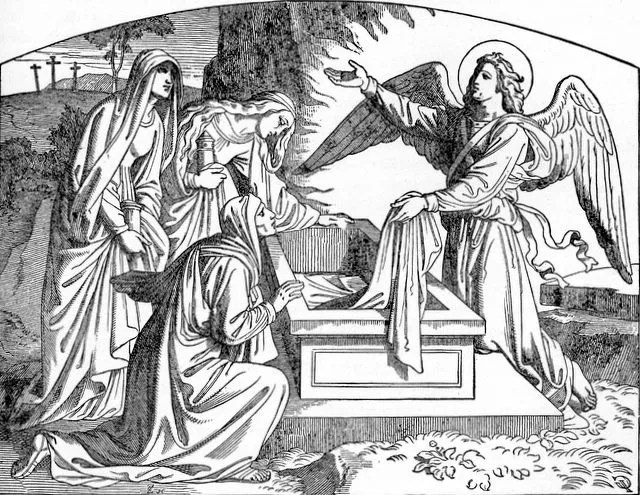 old illustration of an angel at the empty tomb speaking to women