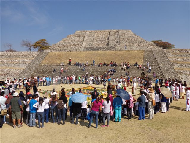 Indigenous ceremony at the pyramids at Xochicalco