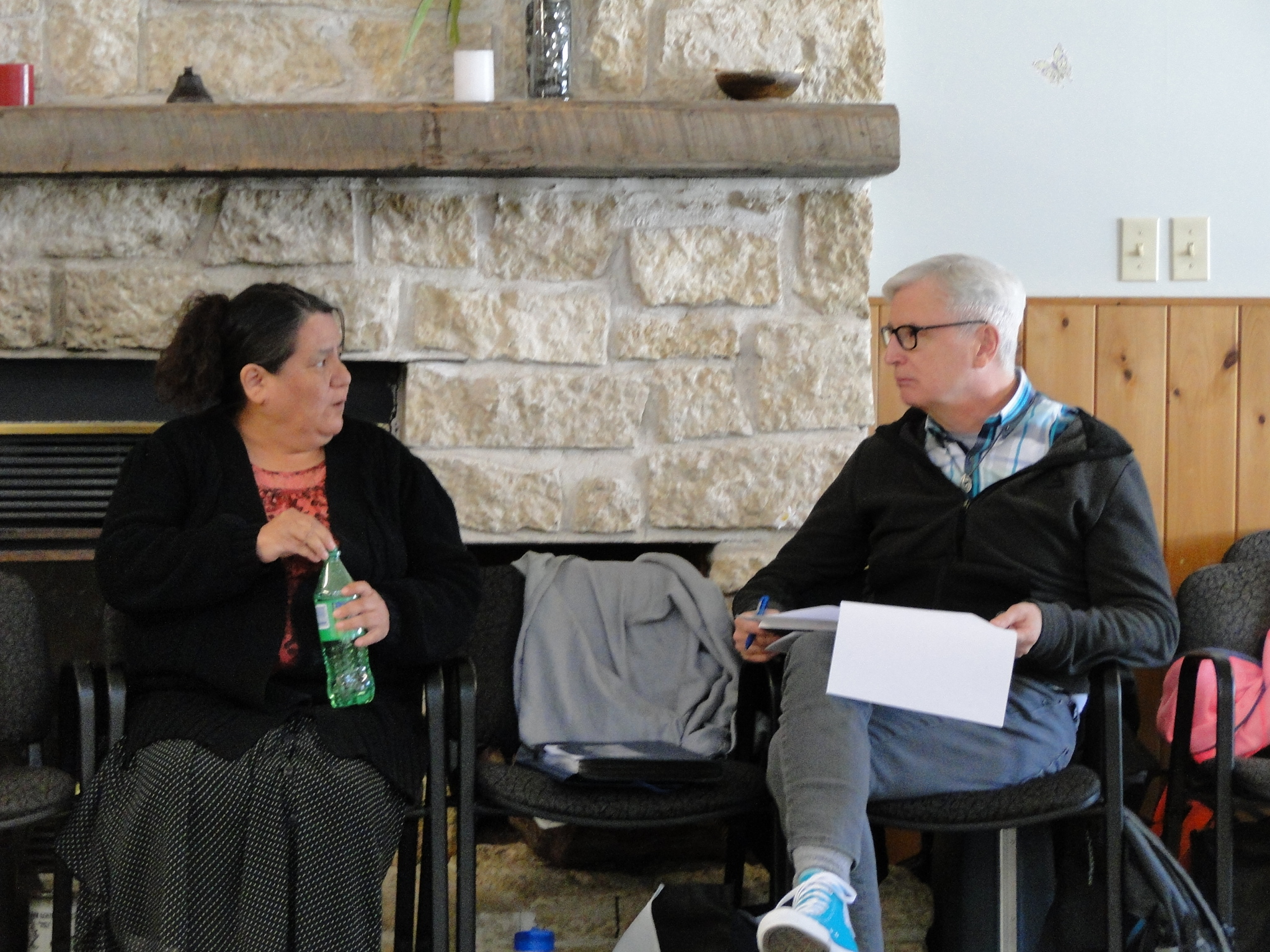 Deb and Ted in conversation at the Sandy-Saulteaux Spiritual Centre