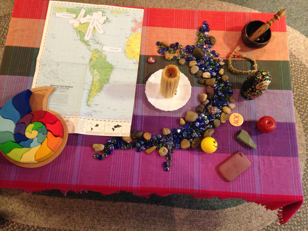 LDM worship centre with symbols from each participant, including a map showing where people are from.