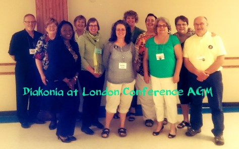 Diaconal folks at London Conference, including recent grad Jim Hatt (far left) and CCS staff Lori Stewart (in the olive green)