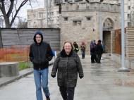 Josh and Debra on a walking reflection, leaving Upper Fort Garry
