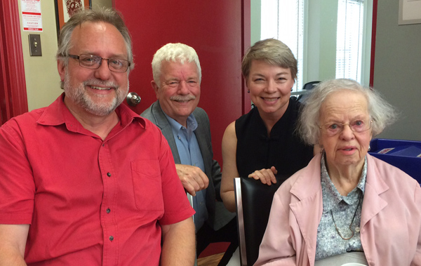 Jonathan Schmidt (CCC-GF), Alan Hayes (TST), Janet Ross (CCS), and Marion Pope (student and friend of Kay Hockin)