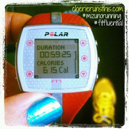 polar heart rate monitor red, blue nail polish, yellow shoes