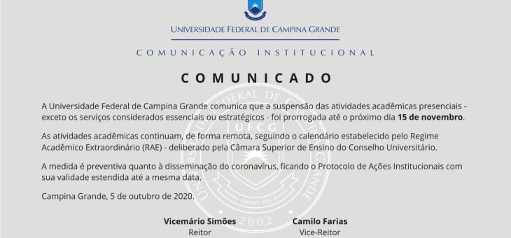 Suspensão das atividades presenciais da UFCG é prorrogada até 15 de novembro