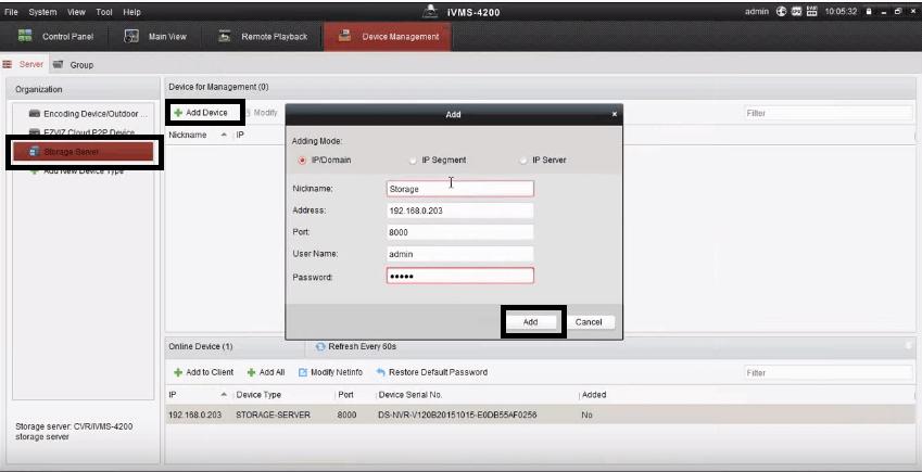 IVMS 4200 Storage Server Configuration