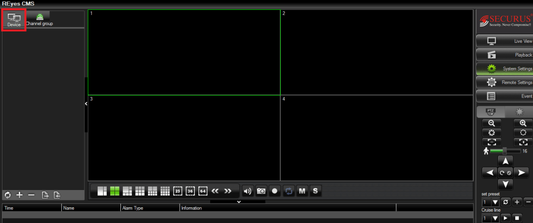 Home Screen Panel of RMEye software