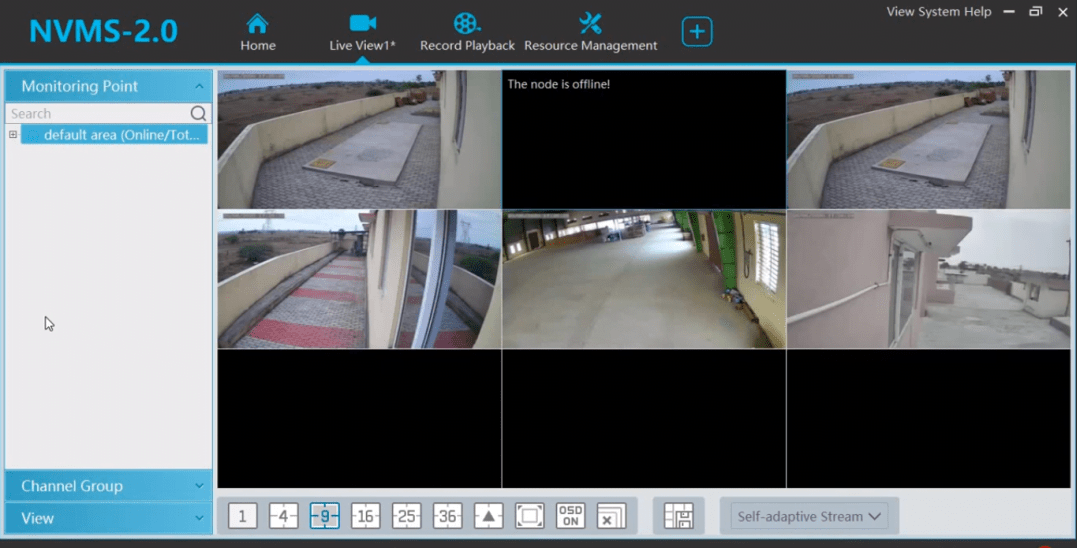 Live view of CCTV cameras on NVMS Lite 2.1