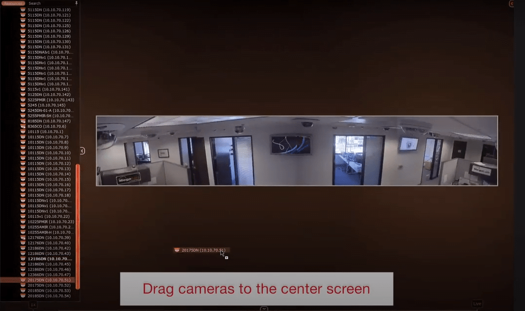 Live view of CCTV cameras on the DW software