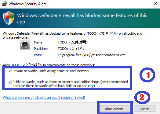 Allow the Firewall access