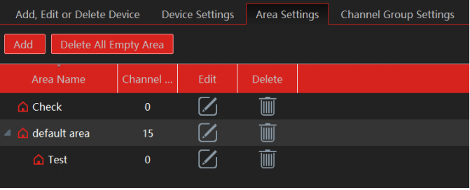 Area setting on the application