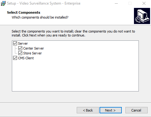 Select the program's components to install