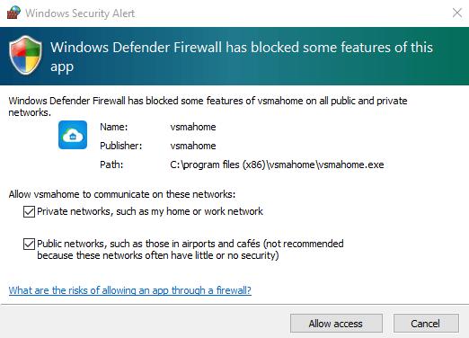 Allow access through Windows firewall