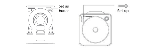 Press and hold setup button while plugging the device