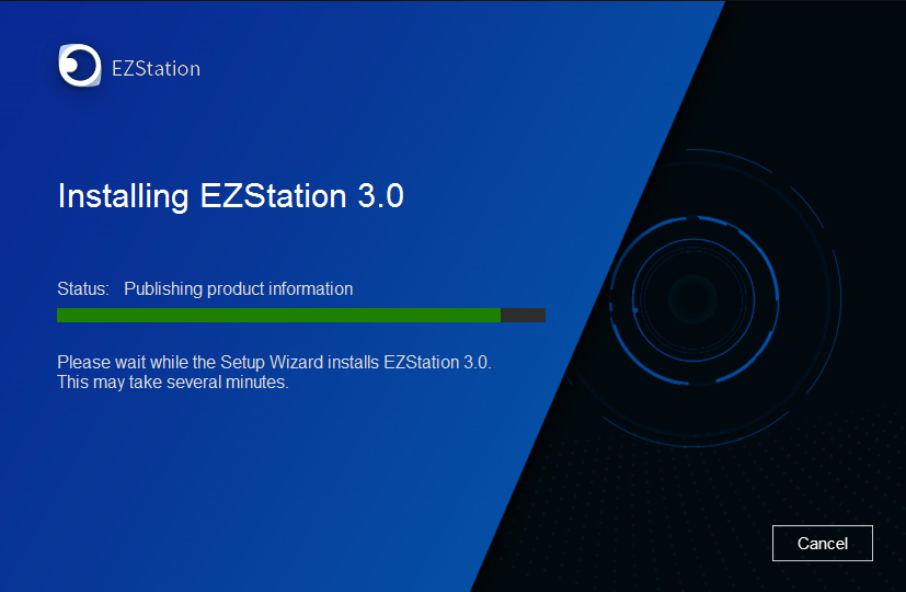 Progress of installation EZLive for PC