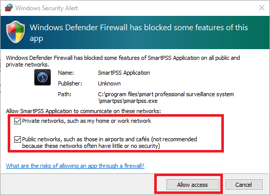 Provide access to firewall