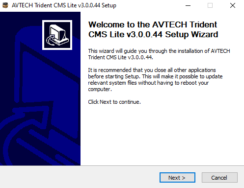 Installation wizard of the Application