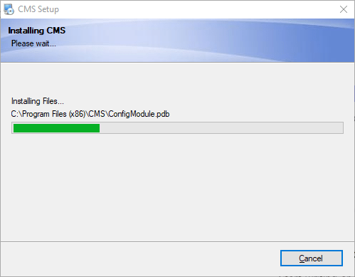 Progress of installing the app