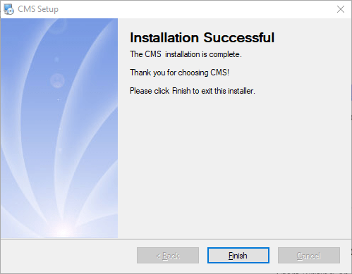 Finish and close the installation wizard