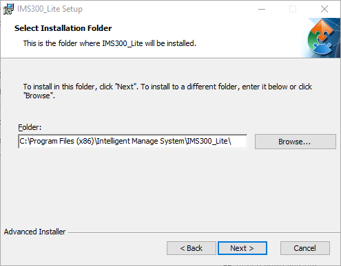 Select the directory folder for installation