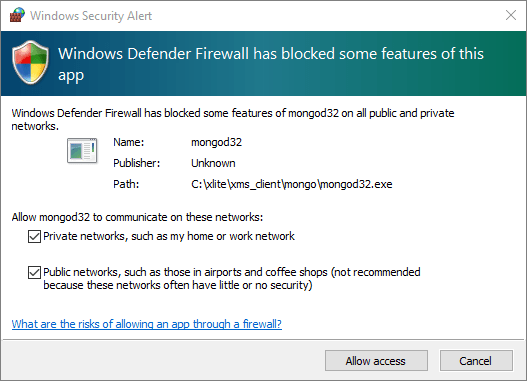 Allow firewall access to the application