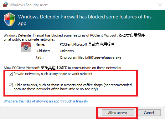 Allow firewall access to the app
