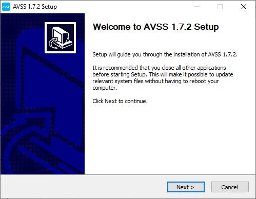 AVSS app's installation wizard