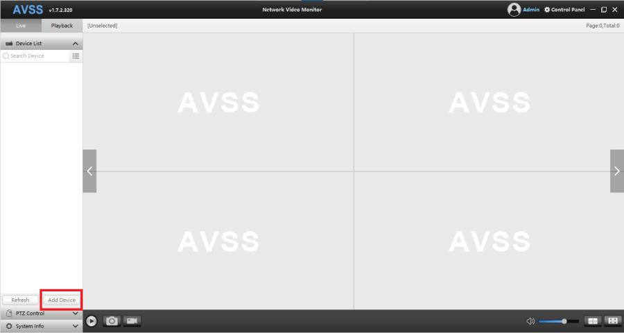 Home screen of the AVSS