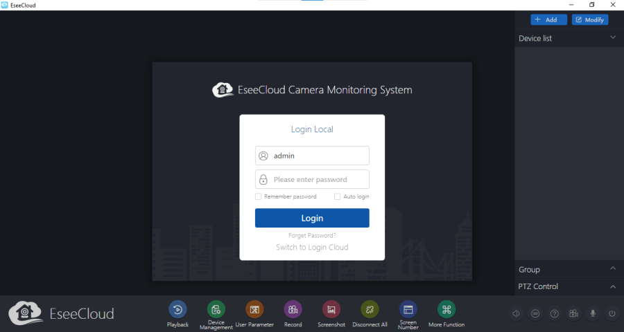 Log in with default username