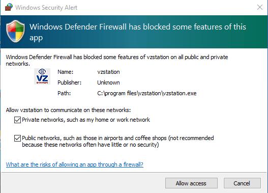 Windows firewall access