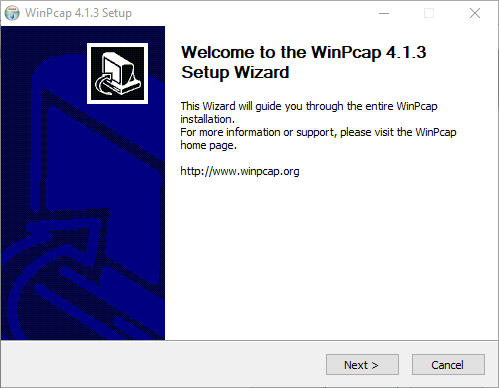 Installation of WinpCap