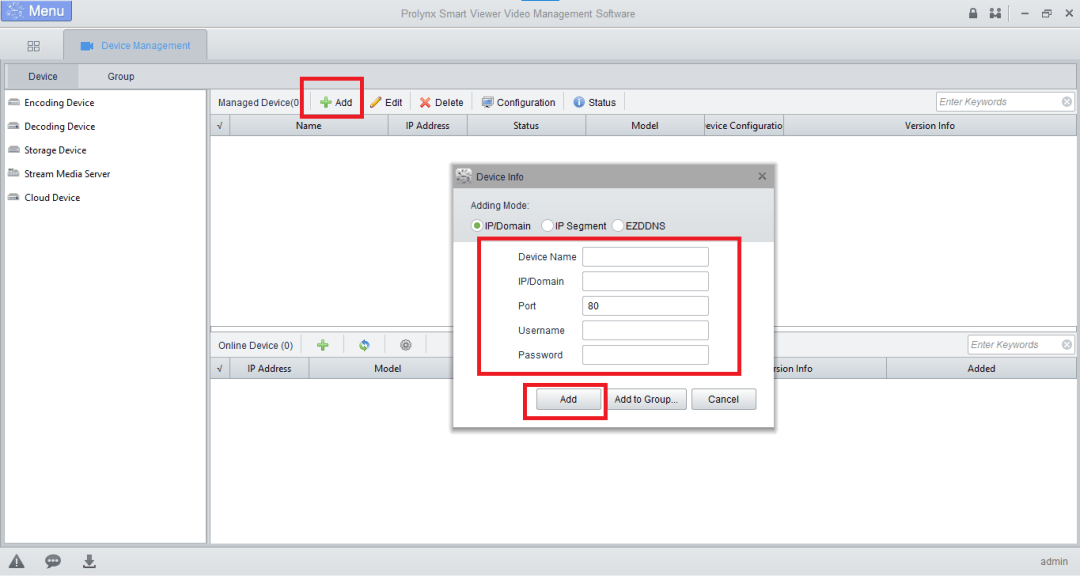 Add and link the device to the software