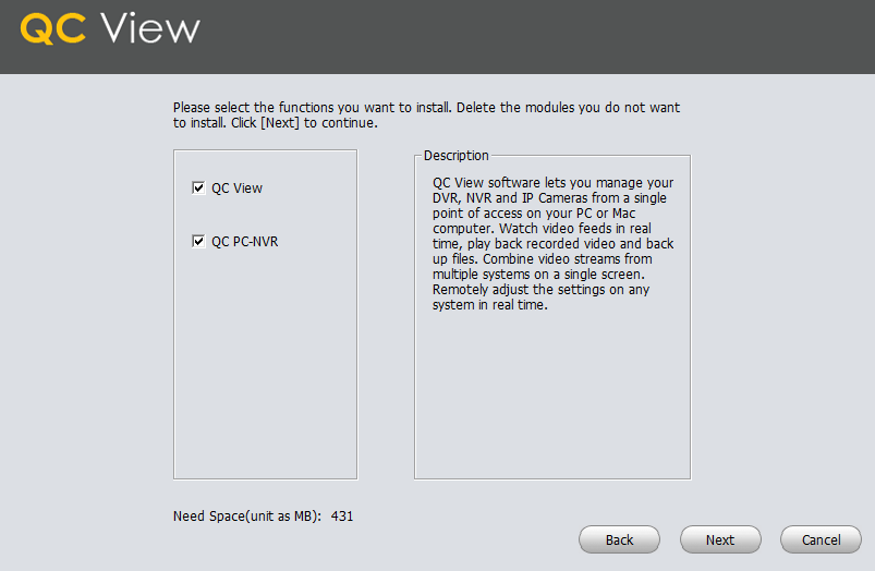 Select the functions of the software