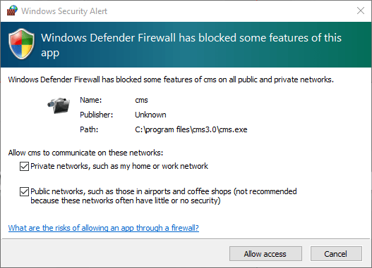 1. Here provide the windows firewall access to the application on PC.