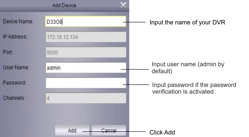 Enter data to add and link devices.