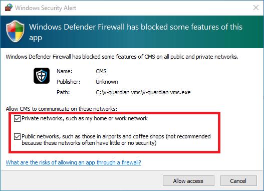 Get firewall access for app