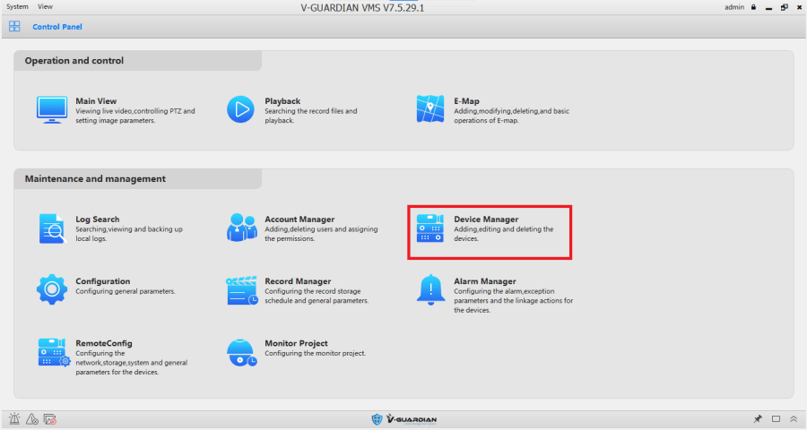 Go to device manager